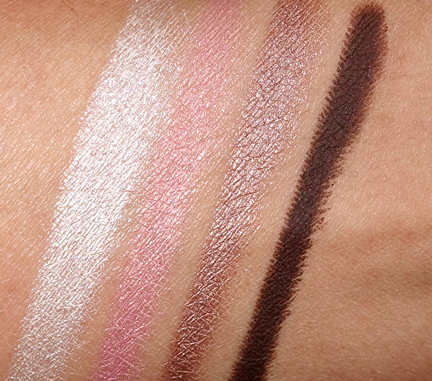 NYX Infinite Shadow Stick Swatches from the left: Crystal, Sweet Pink, Almond and Chocolate