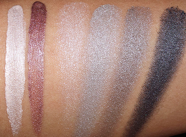Sonia Kashuk Swatches from the left: Pearlescence Cream Shadows in Quartz and Diamond; Eye Quad in Up in Smoke