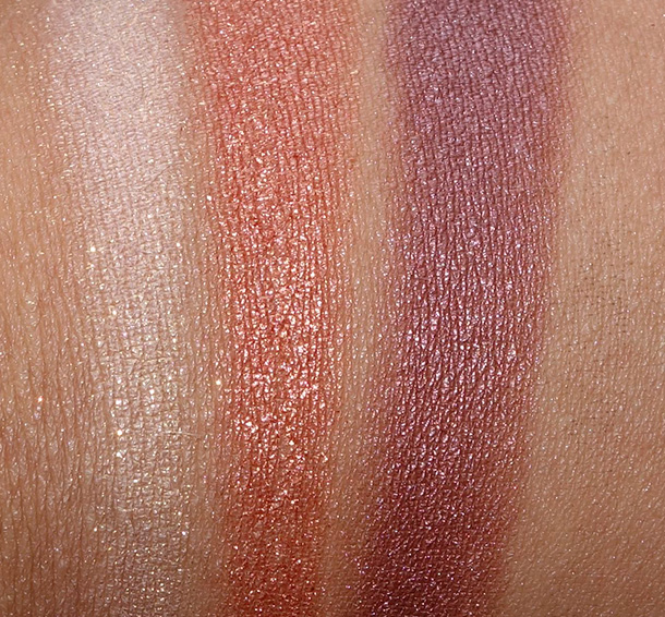 Too Faced A La Mode Eyes Palette swatches from the left: St. Tropez, Cannes and Soleil