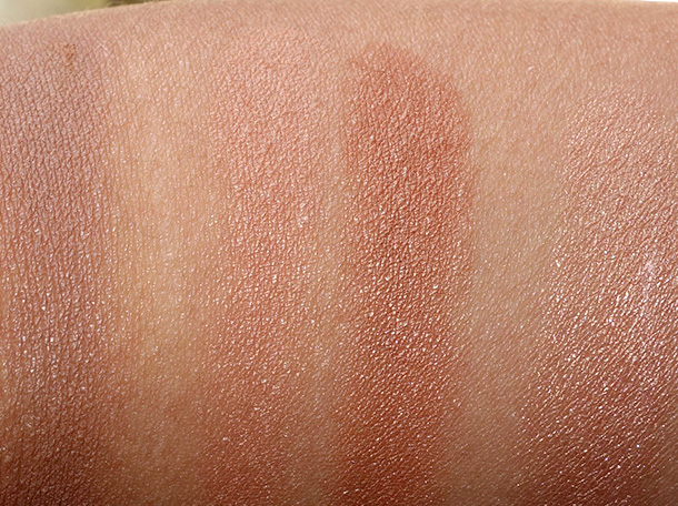 Too Faced Bonjour Soleil swatches from the left: Chocolate Soleil, lighter side of Sun Bunny, darker side of Sun Bunny and Snow Bunny (all shades mixed together)