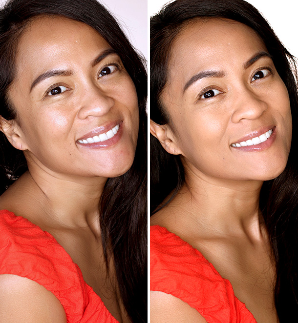 Before (left) and after (right) Becca Ever-Matte Shine Proof Foundation