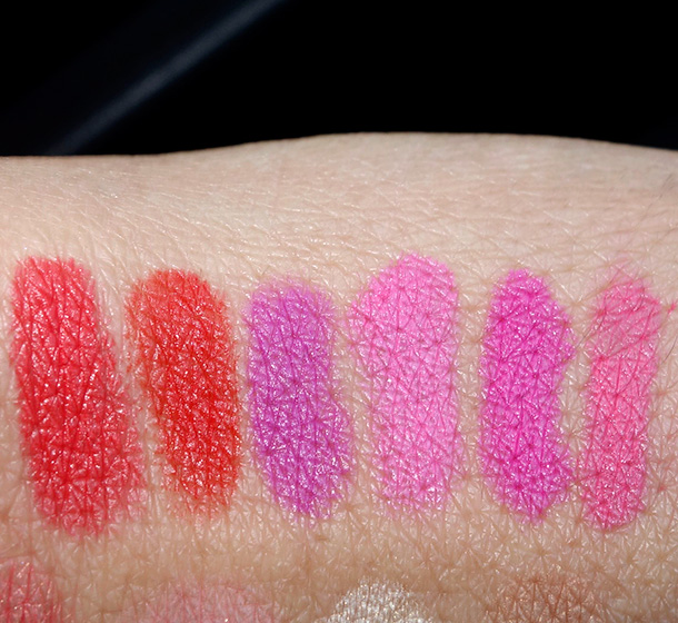 Bite Beauty Matte Lip Crayon Swatches from the left: Blood Orange, Clementine, Grape, Kumquat, Satsuma and Sweety