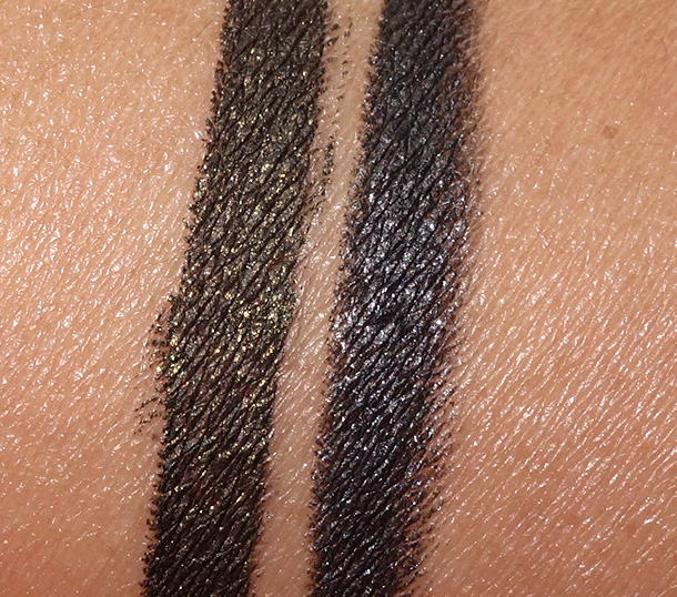 MAC Alluring Aquatic Pearlglide Intense Eye Liners in Black Line (left) and Back Swan (right)
