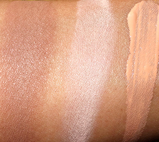 MAC Maleficent Swatches from the left: Sculpting Powder in Sculpt, Beauty Powder in Natural and Prep + Prime Highlighter in Bright Forecast
