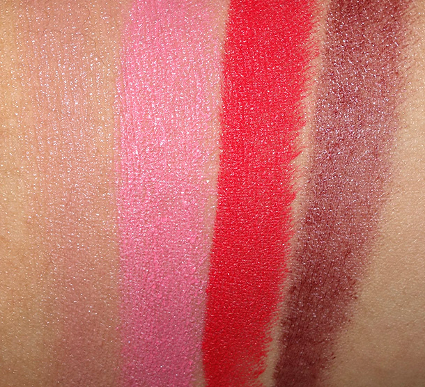 MAC Proenza Schouler Lipstick Swatches from the left: Woodrose, Pinkfringe, mangrove and Primrose