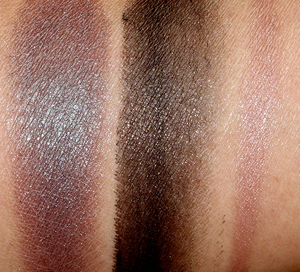 NARS Adult Swim Swatches from the left: Malacca Single Eyeshadow, Baalbek Eye Paint and Iraklion Soft Touch Shadow Pencil