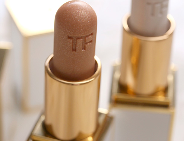 Tom Ford Lip Shimmers in Solar Gold (left) and Moonlight (right)