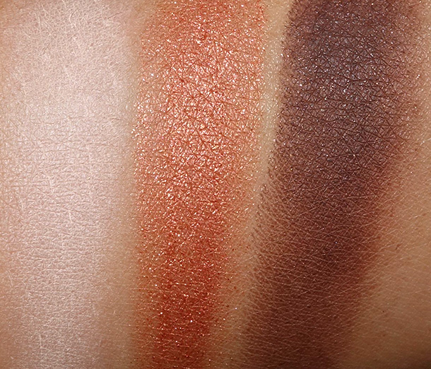 Too Faced Pardon My French Swatches from the left: Sand Dollar, Firefly and Chocolate Sun