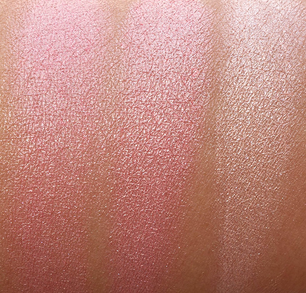 BECCA Beach Tint Shimmer Souffle swatches from the left: Lychee/Opal, Watermelon/Moonstone and Guava/Moonstone