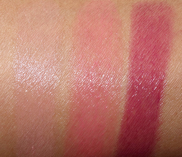 Laura Mercier Gel Lip Colour Swatches from the left: Flushed, Heartbreaker and Temptation