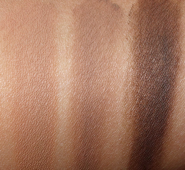 MAC Fluidline Brow Gelcreme Swatches from the left: Redhead, Dirty Blonde and Deep Dark Brunette