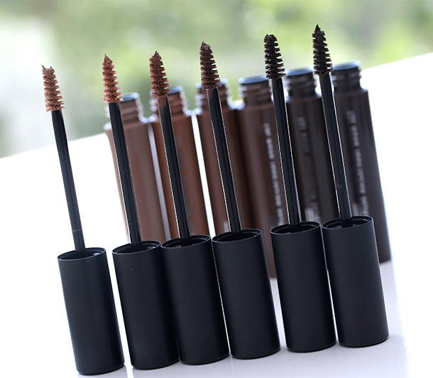 MAC-Pro-Longwear Waterproof Brow Set from the left: Emphatically Blonde, Toasted Blonde, Red Chestnut, Quiet Brunette, Bold Brunette and Brown Ebony