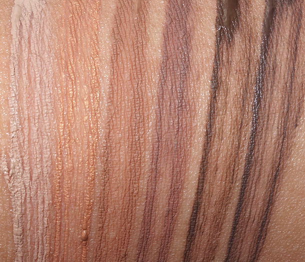 MAC Pro Longwear Waterproof Brow Set from the left: Emphatically Blonde, Toasted Blonde, Red Chestnut, Quiet Brunette, Bold Brunette and Brown Ebony