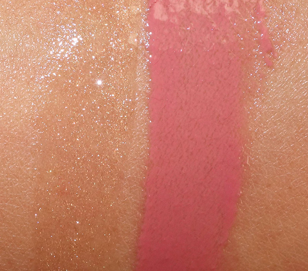 MAC Sharon Osbourne Collection Swatches: Lipglasses in Pussywillow (left) and Bijou (right)