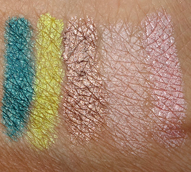 Make Up For Ever Aqua Matic swatches from the left: Iridescent Turquoise I-20, Iridescent Lime Green I-30, Metallic Golden Taupe ME-50, Metallic Pinkish Beige ME-54 and Satiny Flesh-Colored PInk S-52
