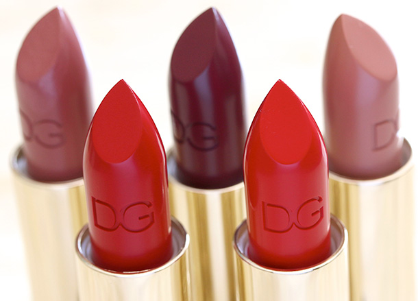 Dolce & Gabbana Lipsticks from the left: Petal, Devil, Dahlia, Fire and Mandorla