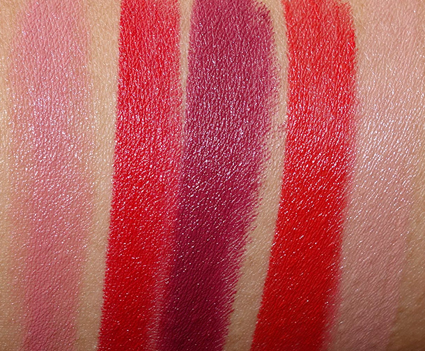 Dolce  & Gabbana Lipsticks Swatches from the left: Petal, Devil, Dahlia, Fire and Mandorla