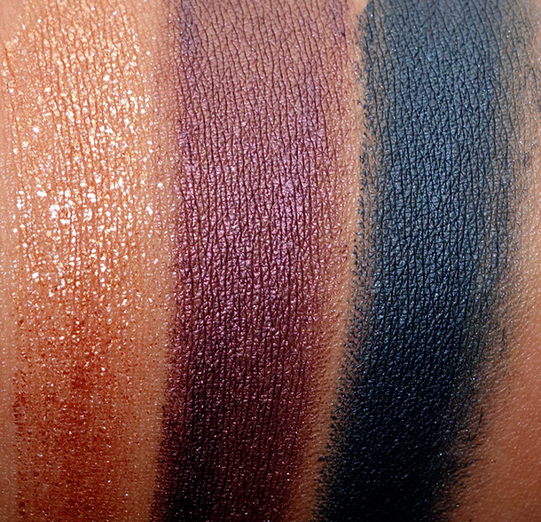 MAC Moody Blooms Fluidline Swatches from the left: Copperthorn, Nightshade and Black Ivy