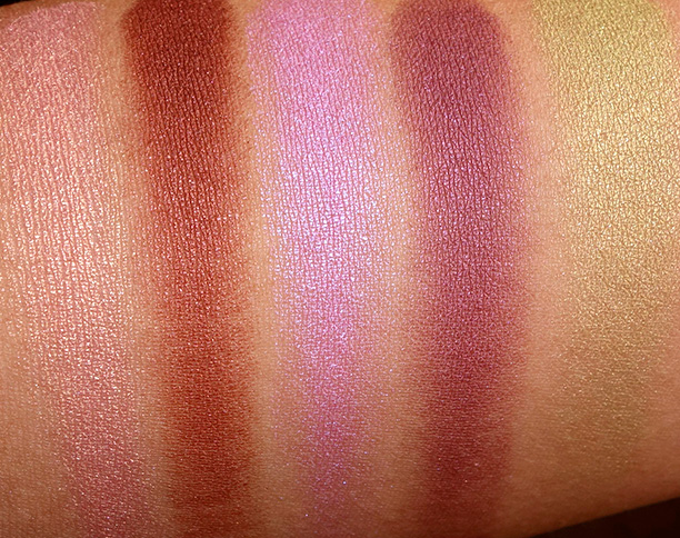 MAC Moody Blooms swatches Eye Shadows from the left: Artistic License, Deep Fixation, Blooming Mad, Hidden Motive and Lucky Green