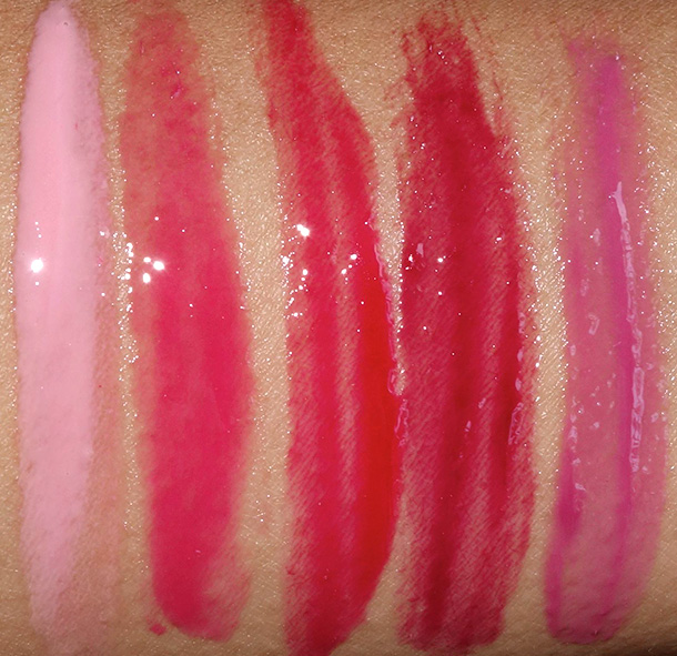 MAC Sheen Supreme Lipglass Tints Swatches from the left: Bubble Gum, Gwi-Yo-Mi, Blushing Berry, Glorious Intent and Simply Wow
