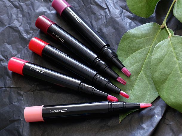 MAC Sheen Supreme Lipglass Tints from the lightest shade on the bottom to the top: Bubble Gum, Gwi-Yo-Mi, Blushing Berry, Glorious Intent and Simply Wow