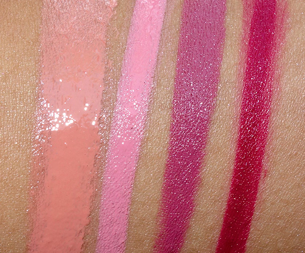 Too Faced Smitten Kitten Collection Swatches from the left: La Creme Lipstick in Country Star; Melted Long Wear Lipsticks in Melted Marshmallow, Melted Fig and Melted Berry