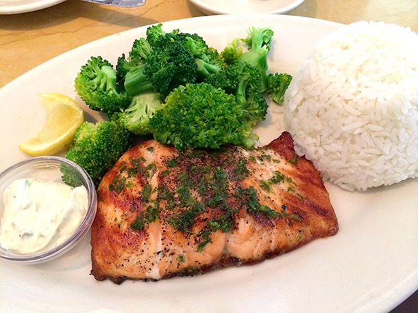 ... this: the grilled salmon on the lunch menu at the Cheesecake Factory