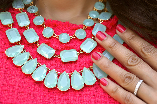 Kate Spade Riviera Garden Triple Strand Necklace and two layers of NARS Shameless Red