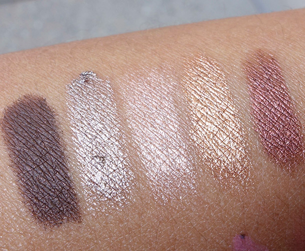 Laura Mercier Caviar Sticks Swatches from the left: Cocoa, Moonlight, Rosegold, Copper and Burnished Bronze