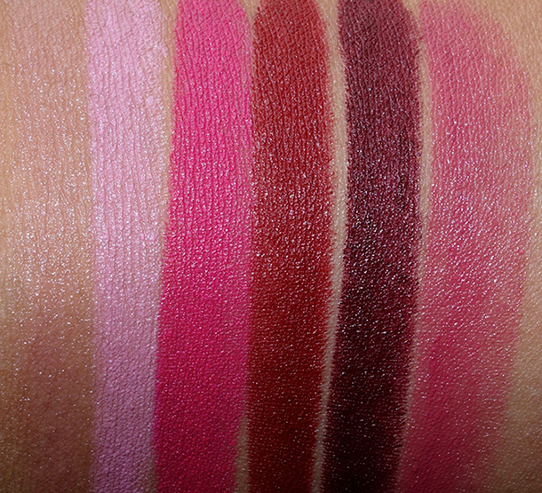 MAC Lustre Lipstick in Myself, Cremesheen Lipstick in A Novel Romance, Matte Lipstick in Good Kisser, Matte Lipstick in Hearts Aflame, Matte Lipstick in Lingering Kiss and Cremeshee Lipstick Yield to Love (online exclusive)