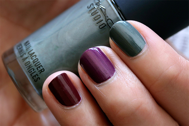 MAC A Novel Romance Nail Swatches from the left: Sunset Sky, Midnight Storm and Before Dawn