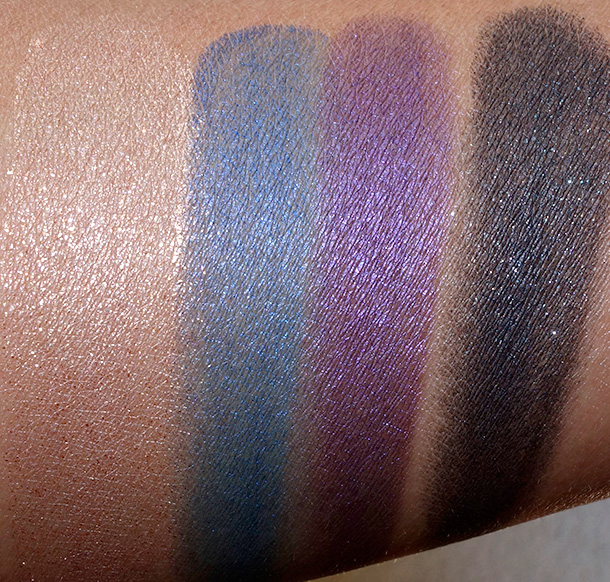 MAC Electric Cool Eye Shadows in Gilded Thrill, Switch to Blue, Highly Charged and Blacklit