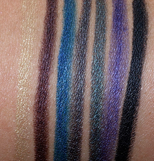 MAC Fluidline Eye Pencils in Atomic Ore, Earth Sign, Deep Blue, Metropolis, Water Willow, Evil Twin and Black Brilliance