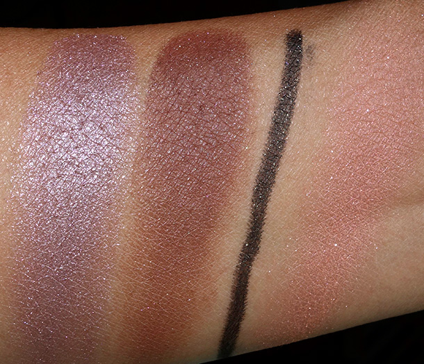 Swatches of additional NARS fall 2014 items worn in this look from the left: Dolomites Duo Eyeshadow, Night Clubbing Eyeliner and Unlawful Blush