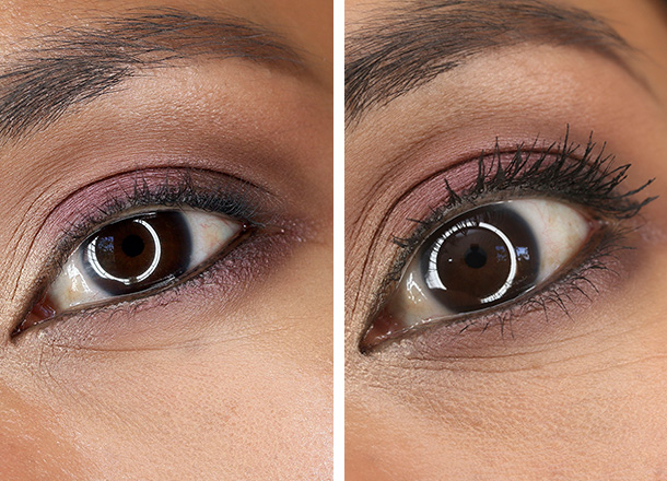 Rouge Bunny Rouge Witchery Modelling Mascara before (left) and after two coats (right)