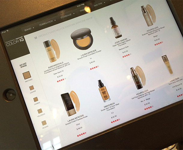 Sephora Color IQ screen