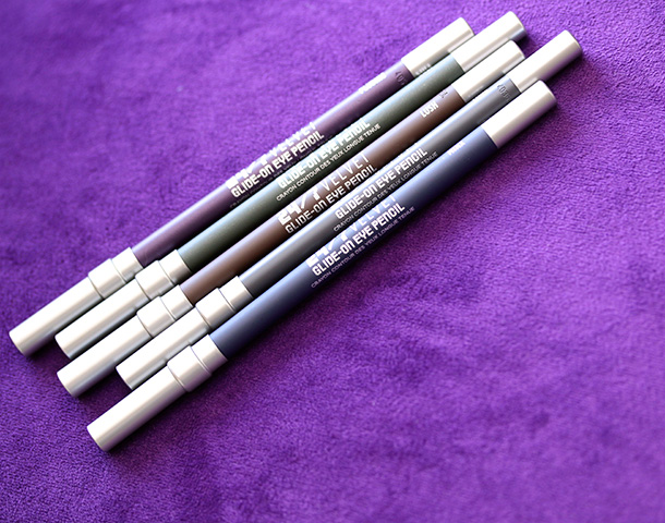 The new Urban Decay 24/7 Velvet Glide-On Eye Pencils in Cult, Lure, Lush, Minx and Plushie