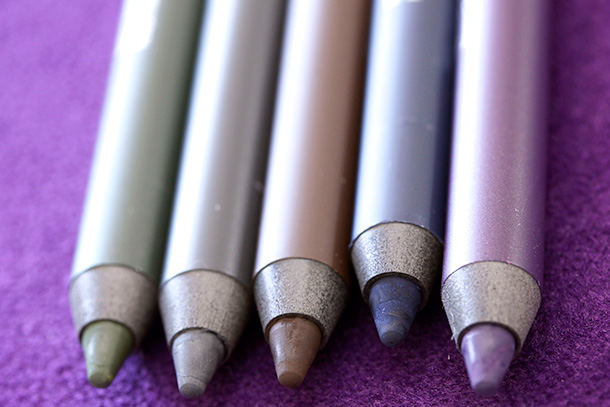 Urban Decay 24/7 Velvet Glide-On Eye Pencils from the left: Cult, Lure, Lush, Minx and Plushie