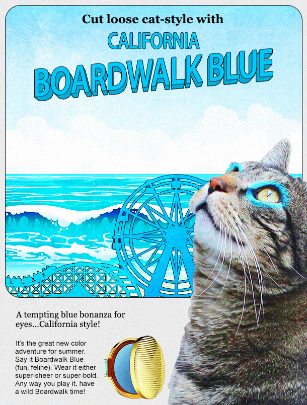 Tabs the Cat for Boardwalk Blue Eye Shadow