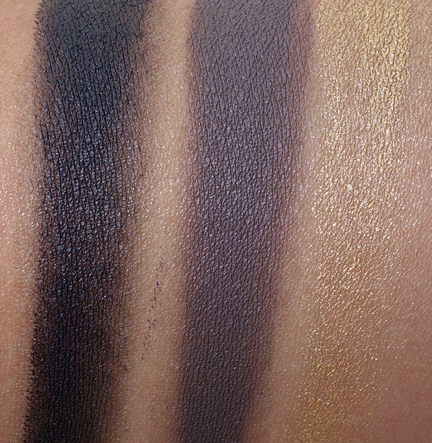 Giorgio Armani Beauty Eye & Brow Maestro Swatches from the left: 1 Jet Black, 2 Wenge Wood and 9 Gold