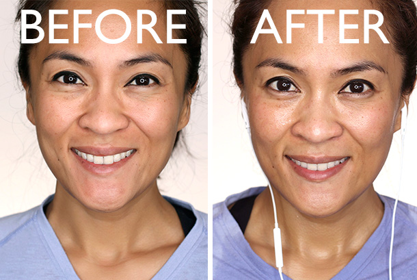 Hourglass 1.5 MM Mechanical Gel Eye Liner before a workout and after
