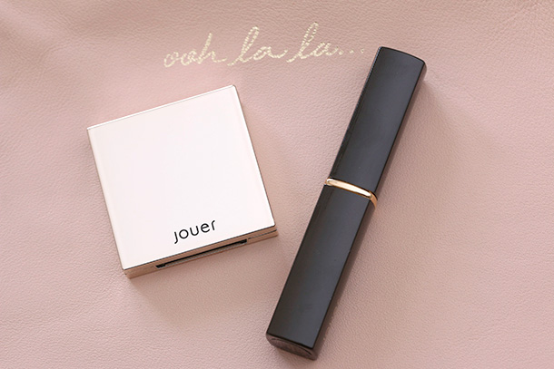 Jouer Luminizing Cheek Tint in Rosy Glow (left) and Lip Sheer in Sheer Rosy Stain (right)
