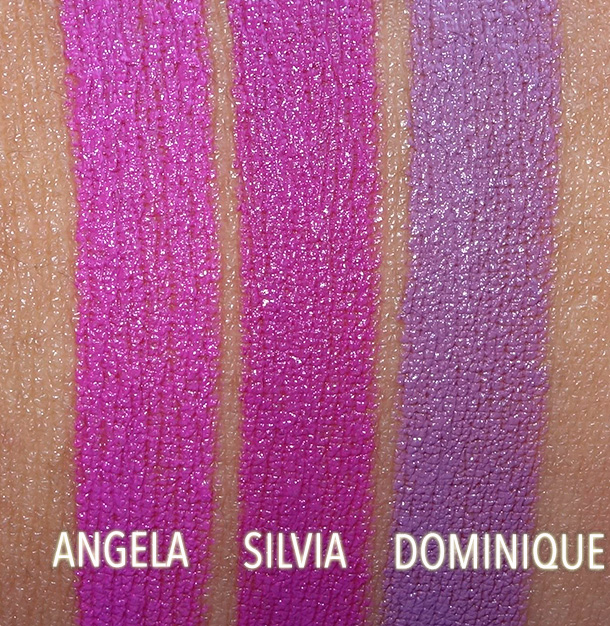 NARS Angela, Silvia and Dominique Swatches