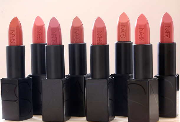NARS Audacious Lipsticks from the left: Jane, Julie, Anna, Barbara, Anita, Raquel, Brigitte and Vanessa (Barneys New York Exclusive)