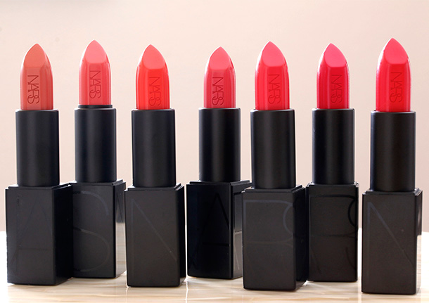 NARS Audacious Lipsticks orange and coral shades from the left: Catherine, Juliette, Geraldine, Natalie, Kelly, Greta and Grace