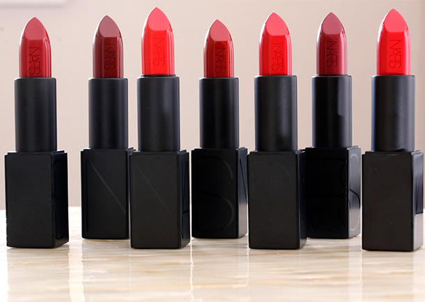 NARS Audacious Lipsticks from the left: Rita, Jeanne, Lana, Marlene, Carmen (Barneys New York Exclusive), Audrey and Annabella