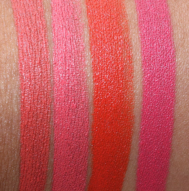 NARS Audacious Lipstick swatches from the left: Catherine, Juliette, Geraldine and Natalie