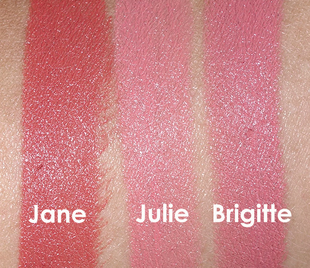 NARS Jane, Julie and Brigitte Swatches