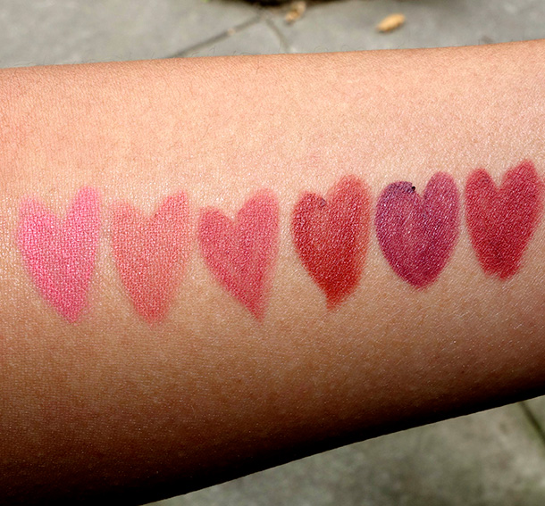 NARS Velvet Lip Liner Swatches from the left: Anse Soleil, Waimea, Patong Beach, Medano Beach, Mirihi Island Beach and Karekare