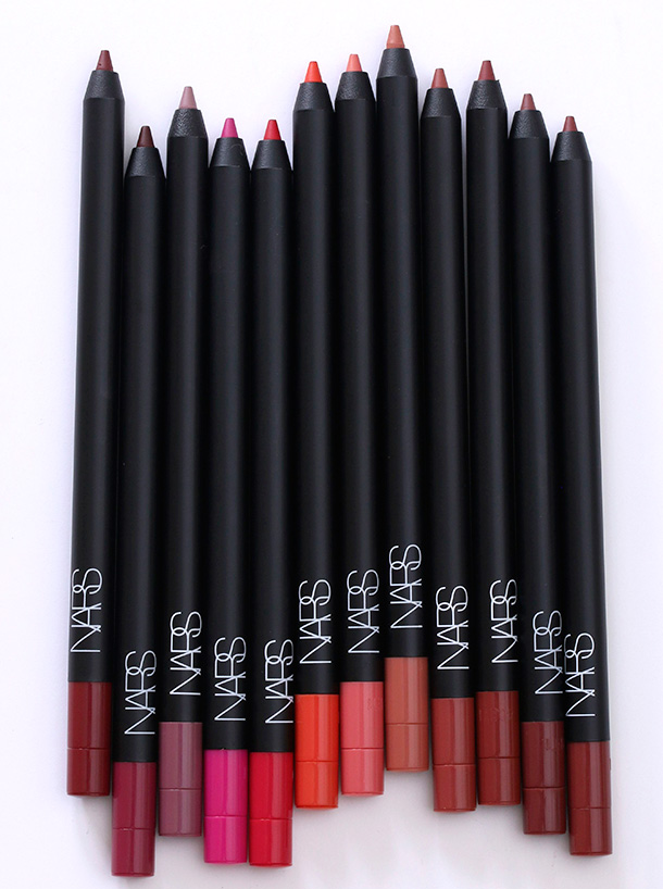 NARS Velvet Lip Liners from the left: Lanikai, Belle Mare, El Agua, Costa Smeralda, Nihiwatu, Playa Dorado, Anse Soleil, Waimea, Patong Beach, Medano Beach, Mirihi Island Beach and Karekare